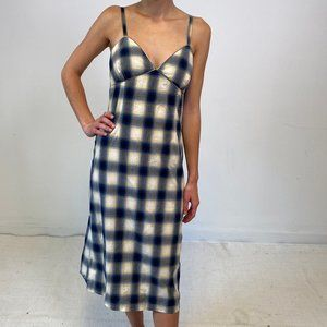 Vintage 90s Anthropologie S Plaid Slip Dress